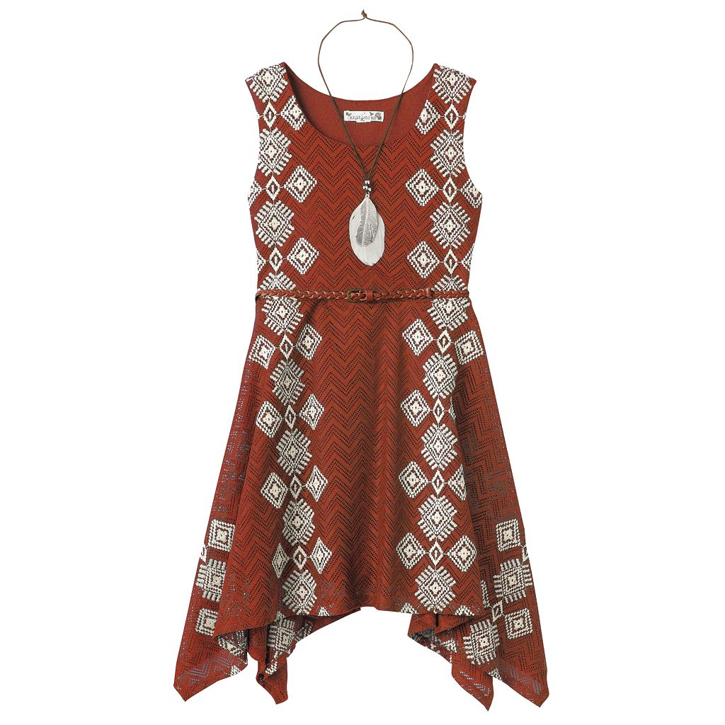 Girls 7-16 Knitworks Belted Handkerchief Hem Crochet Skater Dress with Necklace