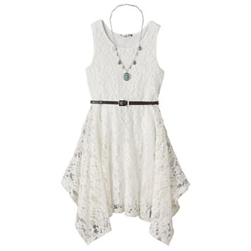 Girls 7-16 Knitworks Belted Handkerchief Hem Lace Skater Dress with Necklace