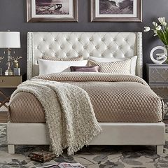 HomeVance Violette Faux Crystal Tufted Wingback Bed