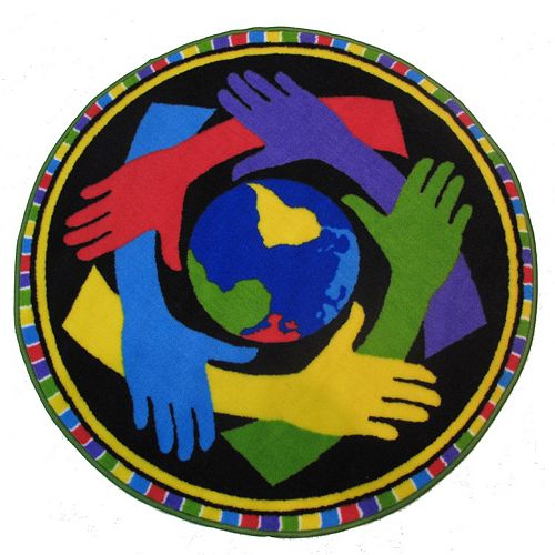 Fun Rugs Fun Time Shape Hands Around The World Rug - 3'3'' Round