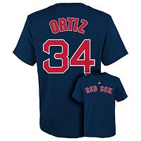 Boys 8-20 Majestic Boston Red Sox David Ortiz Metal Grid Name and Number Tee