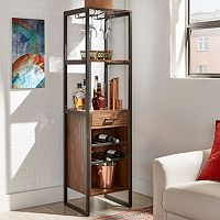 HomeVance Crescent Creek Rustic Industrial Wine Tower Cabinet
