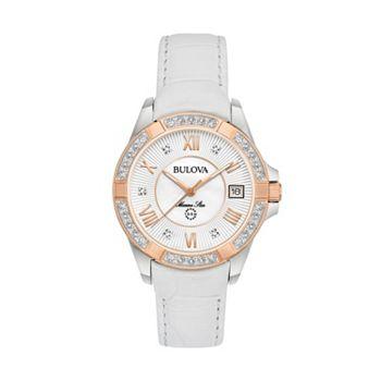 Bulova women 39 s marine star diamond leather watch 98r233 for Watches kohls