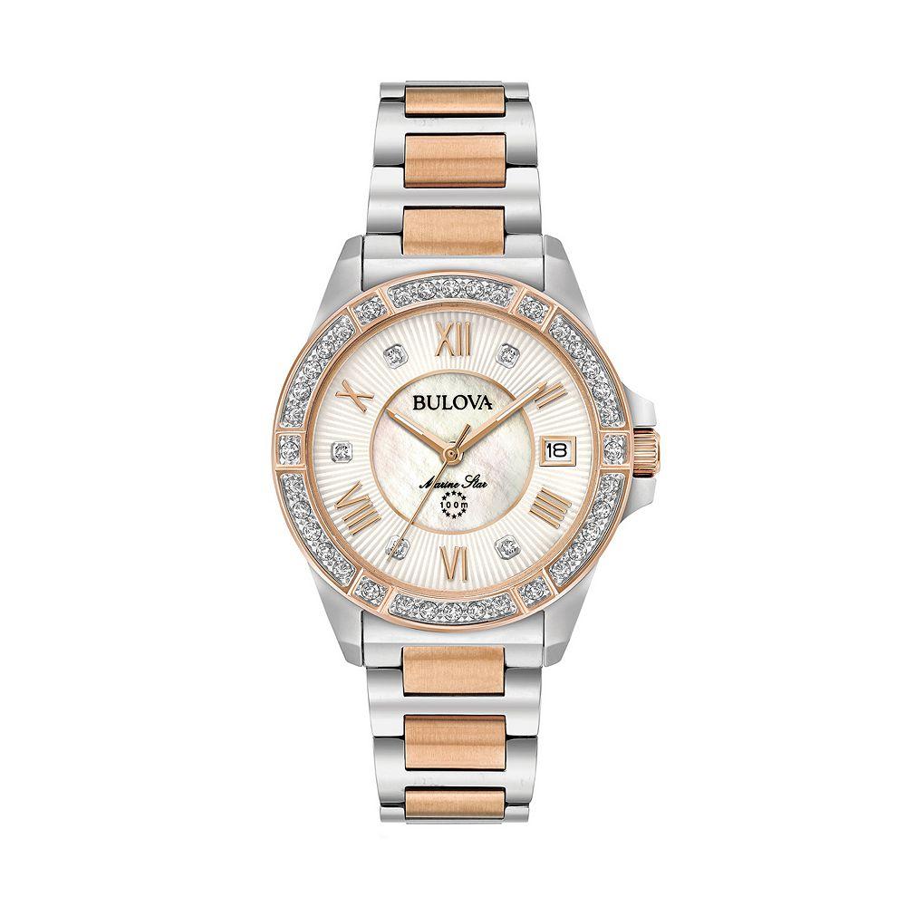 Bulova Women's Marine Star Diamond Two Tone Stainless Steel Watch - 98R234