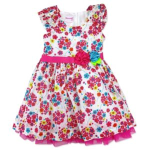 Toddler Girl Nannette Swiss Dot Floral Dress
