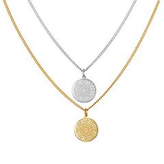 LC Lauren Conrad Openwork Disc Pendant Necklace Set