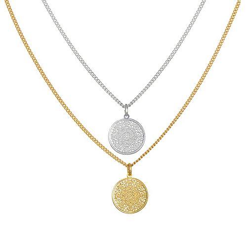 LC Lauren Conrad Openwork Disc Pendant Necklace Set