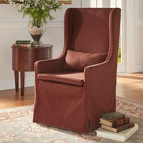 HomeVance Grace Hill Wingback Slip Covered Hostess Chair
