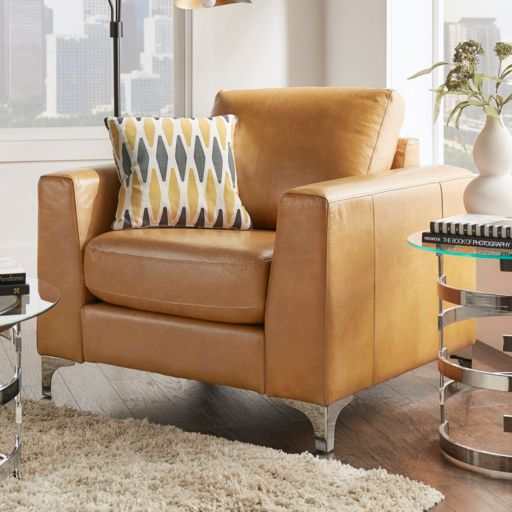 HomeVance Casero Leather Arm Chair