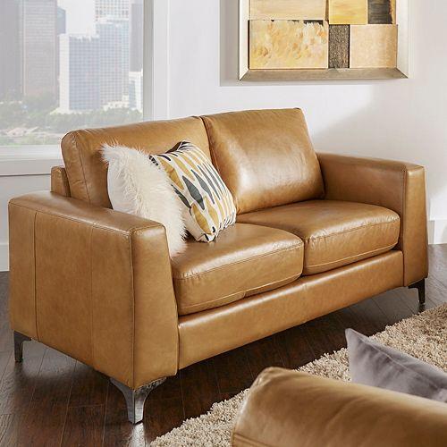 HomeVance Casero Leather Loveseat