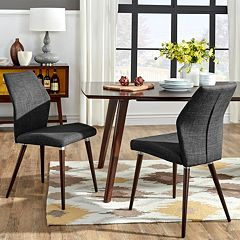 HomeVance Lindholm 2 pc Scandinavian Angled Dining Chair Set