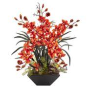 nearly natural Cymbidium Orchid Silk Artificial Floral Arrangement