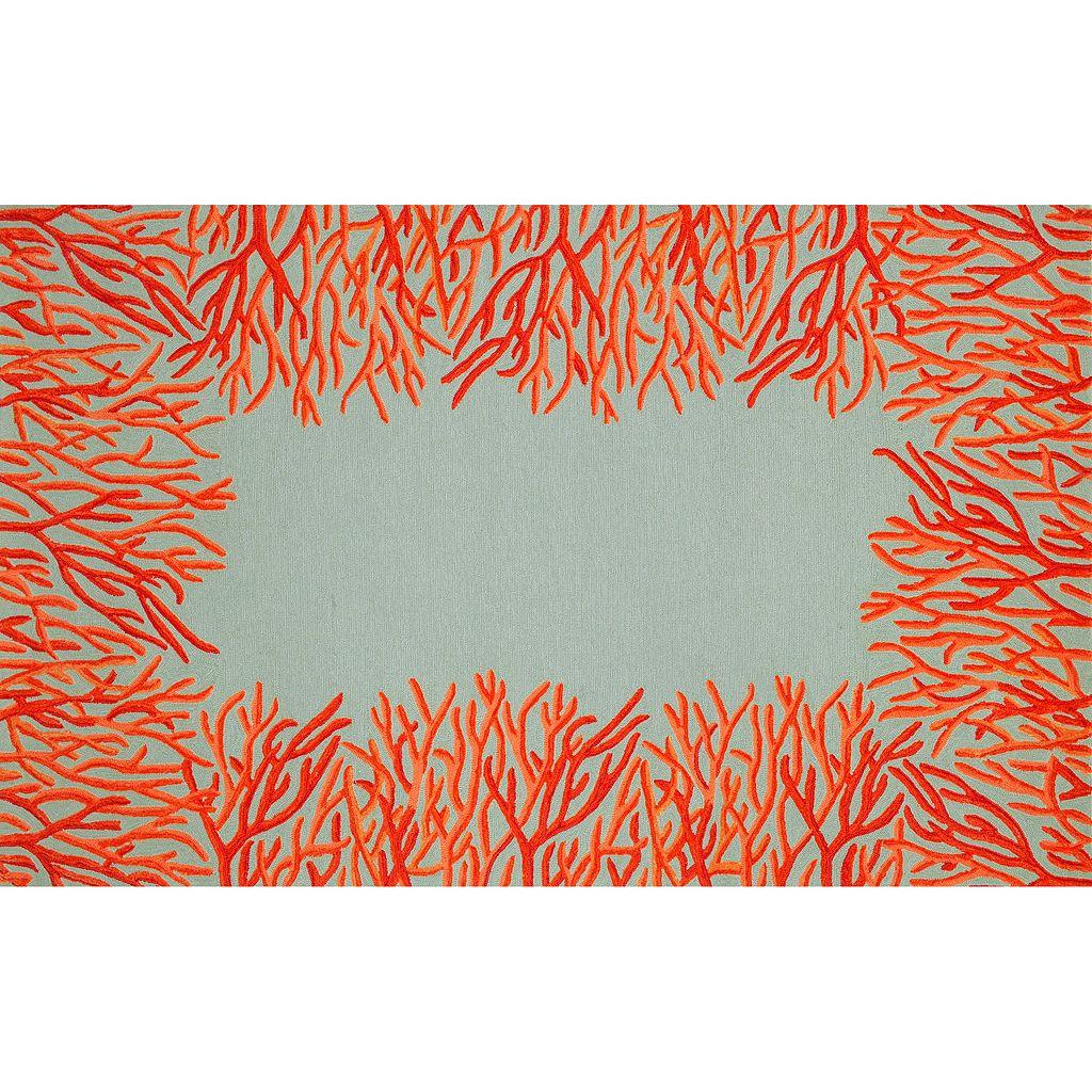 Trans Ocean Imports Liora Manne Front Porch Spello Coral Border Indoor Outdoor Rug