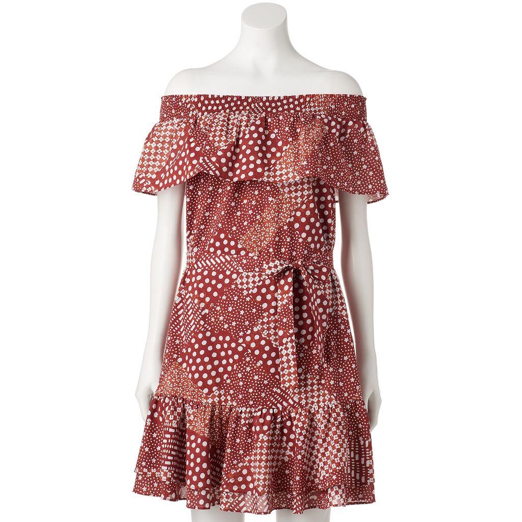 Women's LC Lauren Conrad Print Off-the-Shoulder Shift Dress