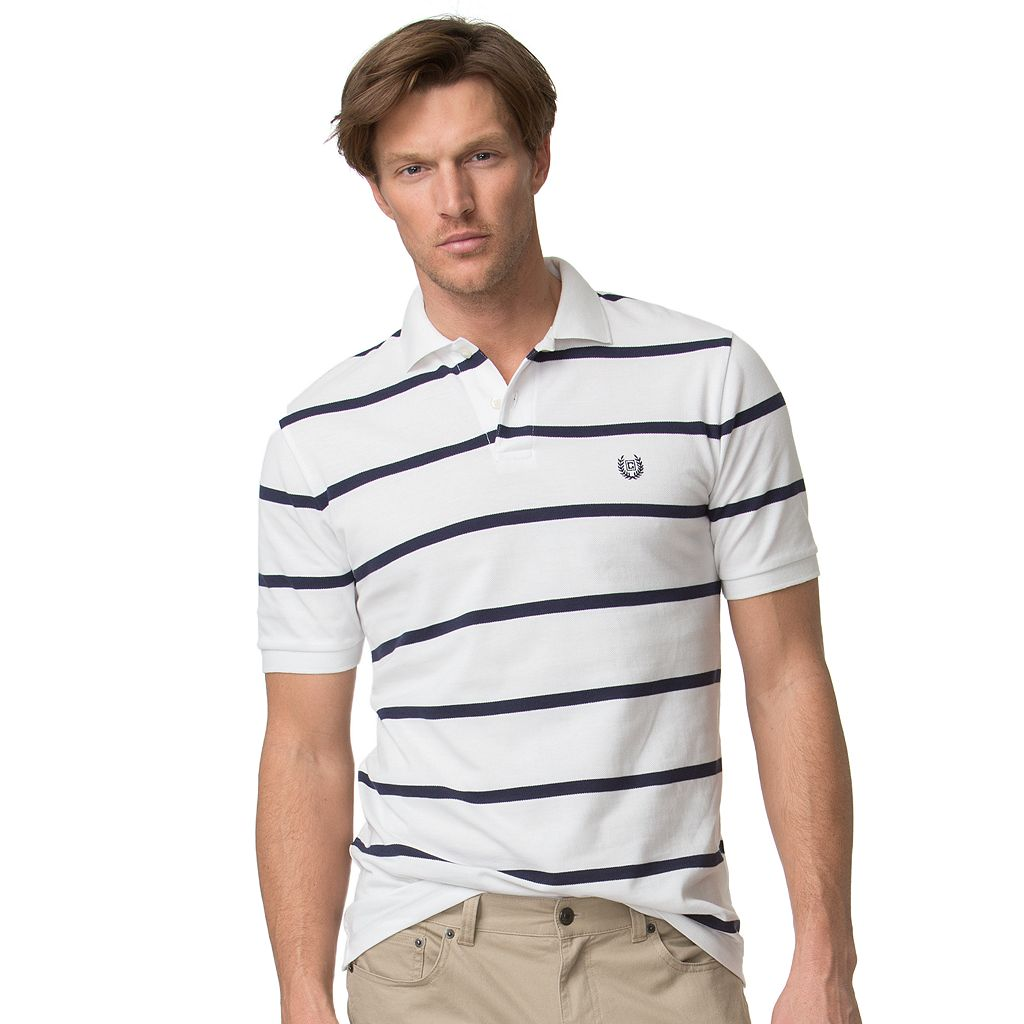Big & Tall Chaps Classic-Fit Striped Pique Polo