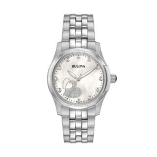 Bulova Women's Diamond Heart Stainless Steel Watch - 96P182