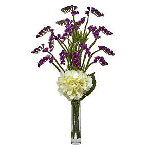 nearly natural Hydrangea and Statice Bud Silk Artificial Floral Arrangement