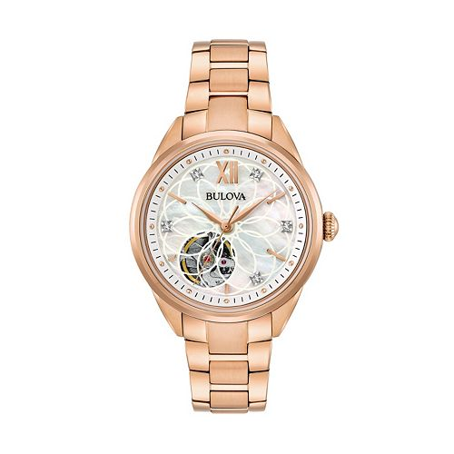 Bulova Women's Diamond Stainless Steel Automatic Skeleton Watch