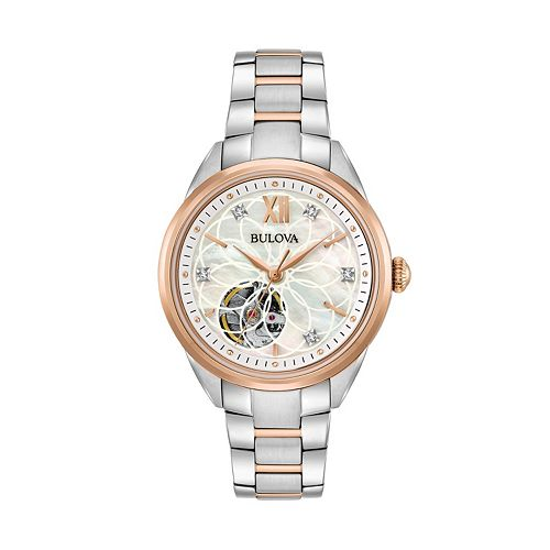 Bulova women 39 s diamond stainless steel automatic skeleton watch for Watches kohls