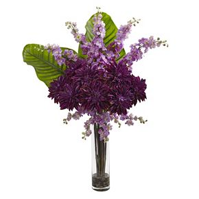 nearly natural Dahlia, Delphinium & Travelers Palm Silk Artificial Floral Arrangement