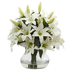 nearly natural 16-in. Lily Silk Artificial Floral Arrangement