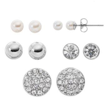 Ball & Simulated Crystal Nickel Free Stud Earring Set