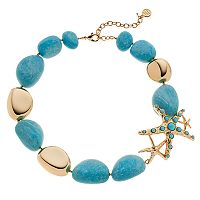Dana Buchman Starfish & Simulated Turquoise Bead Chunky Necklace