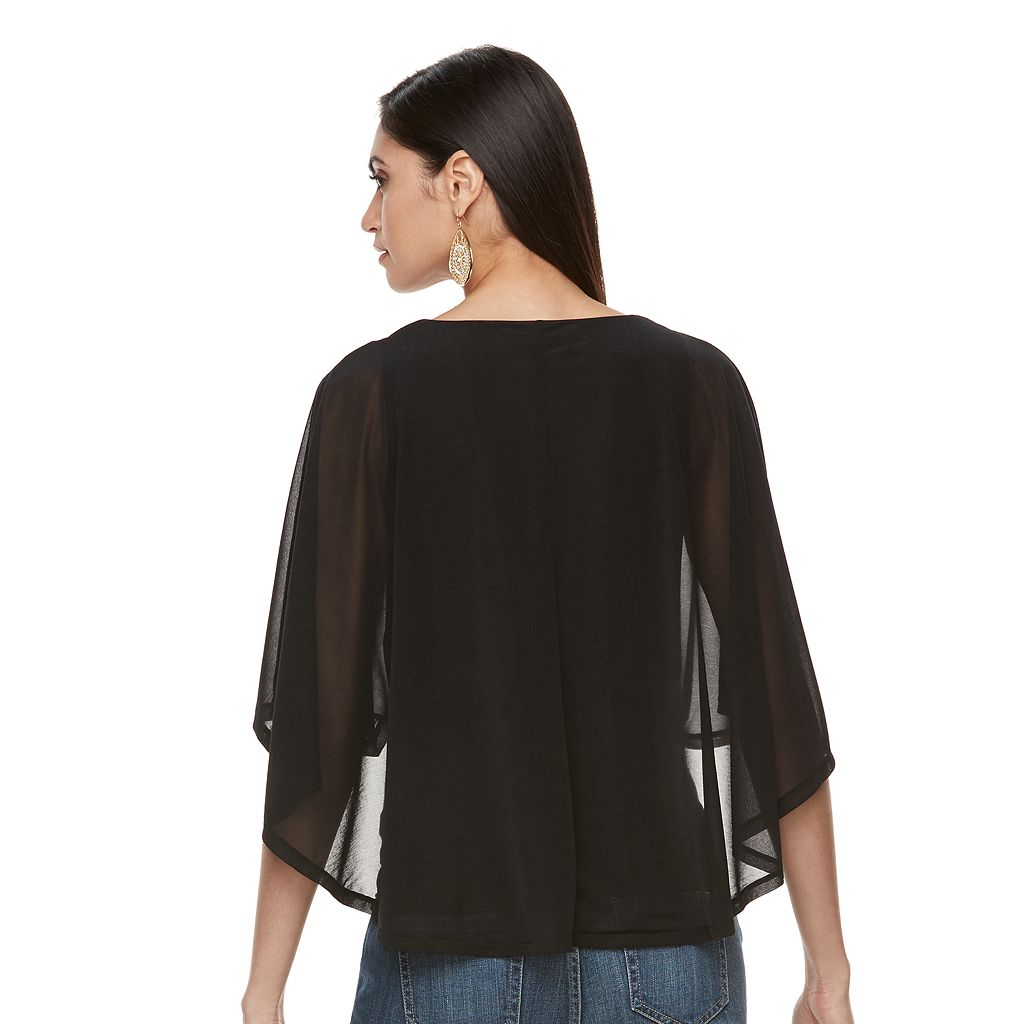 Women's Jennifer Lopez Mesh Cape Top