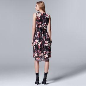Petite Simply Vera Vera Wang Printed Mesh High-Low Dress