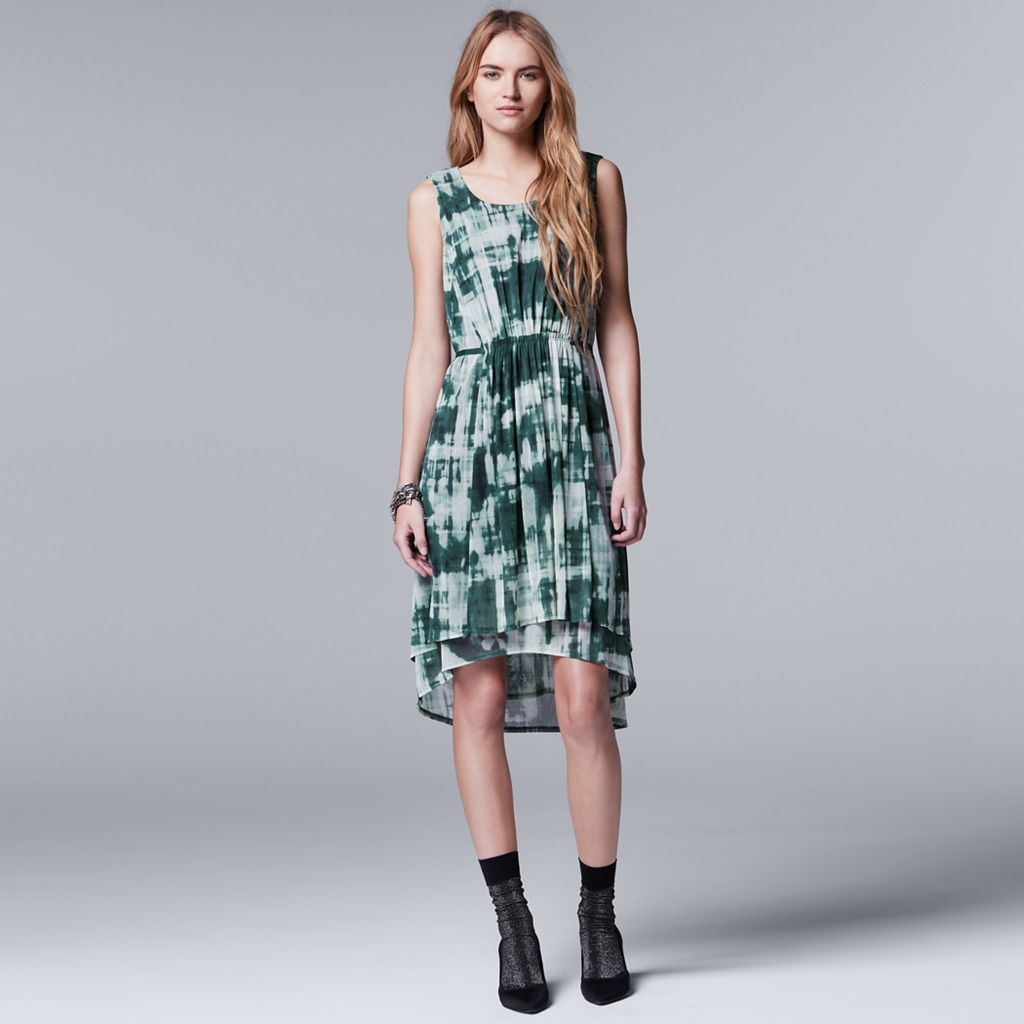 Petite Simply Vera Vera Wang Printed Mesh High-Low Dress