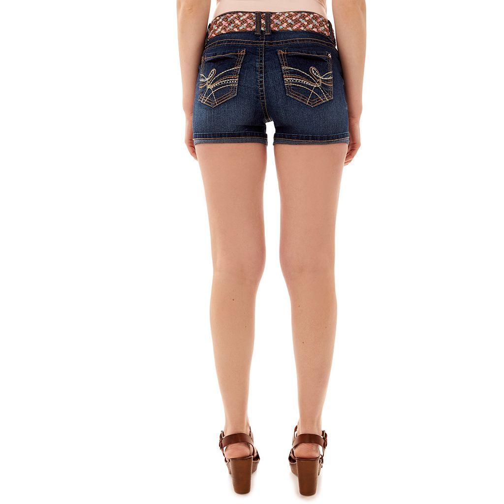 Juniors' Wallflower Luscious Curvy Faded Jean Shortie Shorts