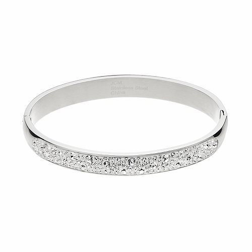 Confetti Stainless Steel Clear Crystal Hinged Bangle Bracelet