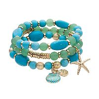 Dana Buchman Shell & Starfish Charm Beaded Stretch Bracelet Set