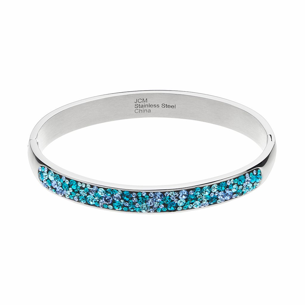 Confetti Stainless Steel Blue Crystal Hinged Bangle Bracelet