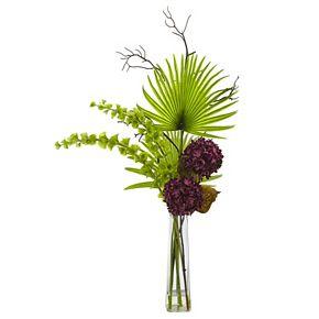 nearly natural Hydrangea, Bells Of Ireland & Palm Frond Artificial Floral Arrangement