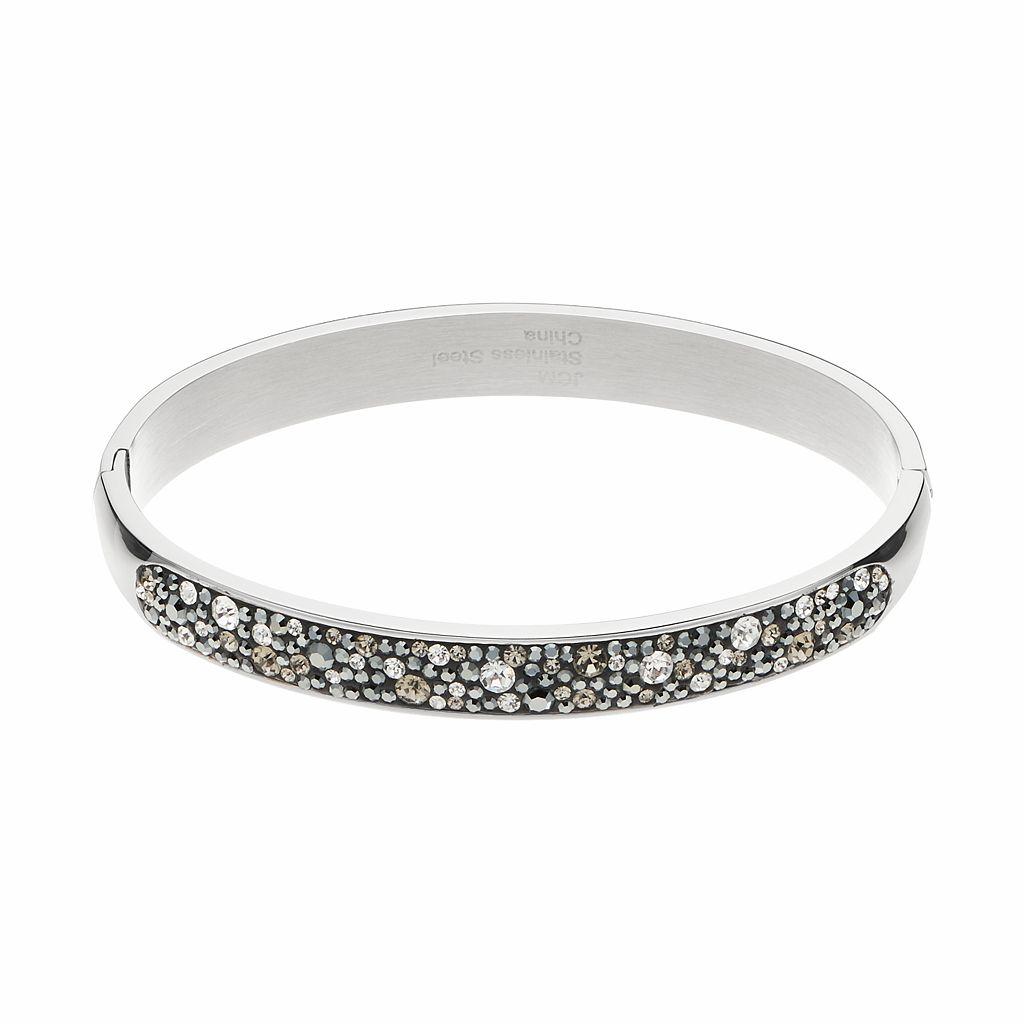 Confetti Stainless Steel Black Crystal Hinged Bangle Bracelet