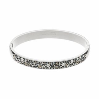 Confetti Stainless Steel Black Crystal Hinged Bangle Bracelet