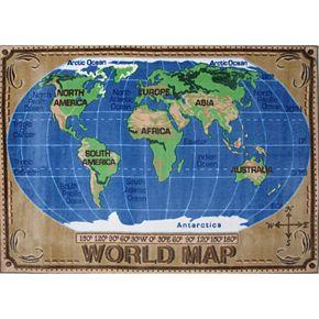 Fun Rugs Supreme World Map Rug - 2'7'' x 3'11''