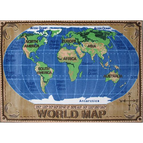 Fun Rugs Supreme World Map Rug - 2'7'' x 3'11''