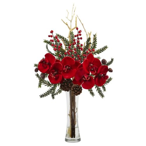 nearly natural Mixed Orchid Holiday Artificial Floral Arrangement
