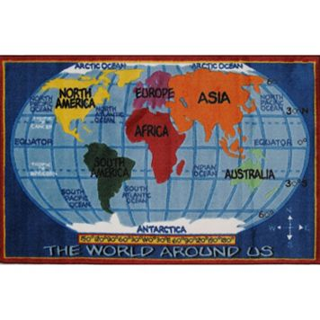Fun Rugs Supreme Kids World Map Rug - 2'7'' x 3'11''