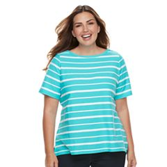 Plus Size Croft & Barrow® Striped Embellished Boatneck Tee