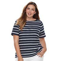 Plus Size Croft & Barrow® Striped Embellished Boatneck Tee