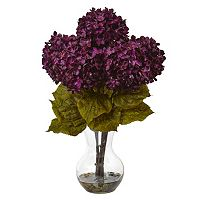 nearly natural 18 in Hydrangea Silk Flower Artificial Floral Arrangement