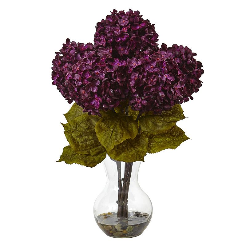 nearly natural 18-in. Hydrangea Silk Flower Artificial Floral Arrangement, Purple Brighten any tabletop with the vivid blooms of this nearly natural artificial floral arrangement. Faux water adds realistic look Vase adds elegant style 18 H x 12 W x 12 D Weight: 2.35 lbs. Acrylic, plastic, metal Imported Wipe clean Model no. 1440-RU  Color: Purple. Gender: unisex. Age Group: adult. Material: silk.