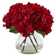 nearly natural 8.5 in Red Hydrangea Silk Flower Artificial Floral Arrangement