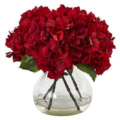 nearly natural 8.5-in. Red Hydrangea Silk Flower Artificial Floral Arrangement