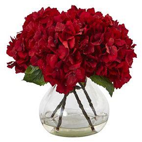 nearly natural 8.5-in. Red Hydrangea Silk Flower Artificial Floral Arrangement