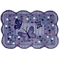 Fun Rugs Supreme Purple Butterfly Framed Rug - 3'3'' x 4'10''
