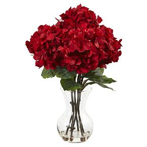 nearly natural 18-in. Red Hydrangea Silk Flower Artificial Floral Arrangement